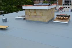 Single ply roofing membrane completed job