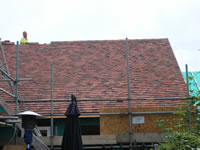 Roof tiling in progress in Henfield